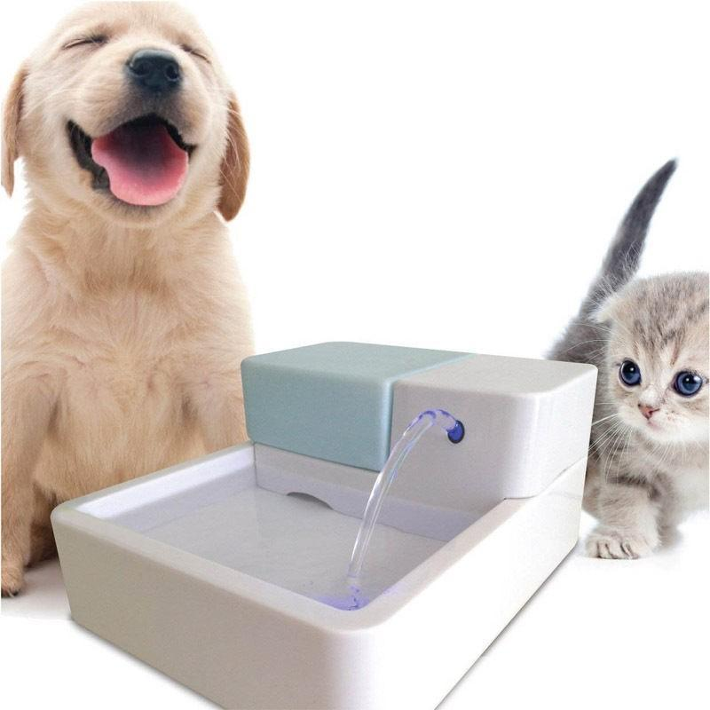 Max and Maci's Store Dog Feeding White with Blue / US / United States 1.8L Led Automatic Cat Dog Kitten Water Drinking Fountain