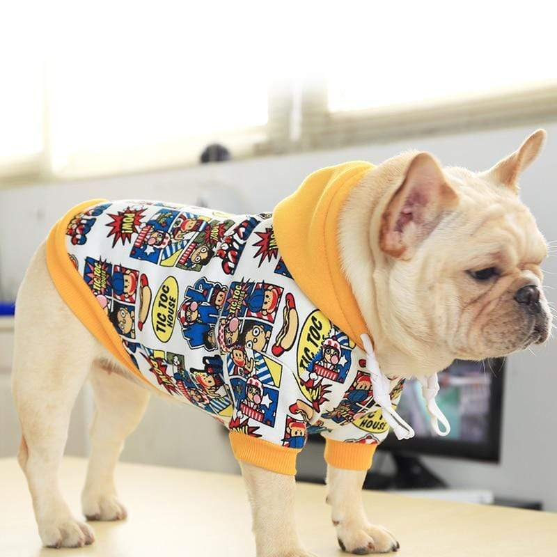 Max and Maci's Store Dog Hoodies French Bulldog Dog Doodle Print Hooded Sweater