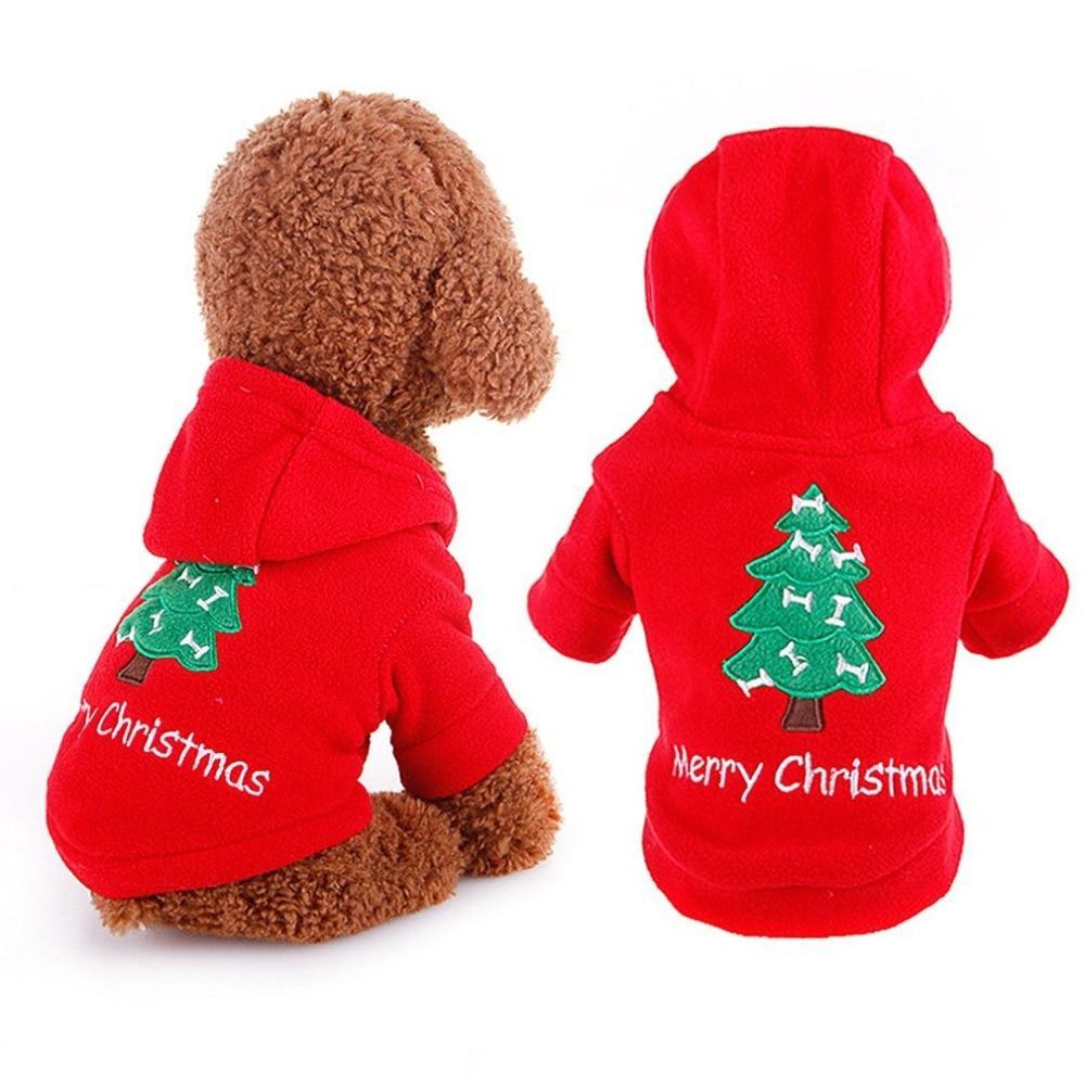 Max and Maci's Store Dog Hoodies Winter Christmas Printed Dog Clothes Hoodie