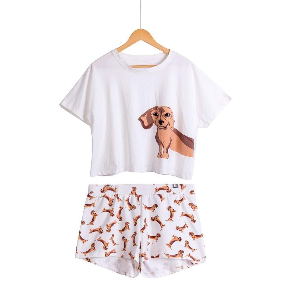 Max and Maci's Store Dog Print 2 Pieces Set Short Sleeve Tops
