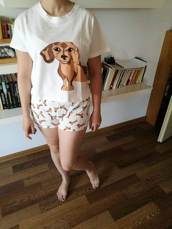 Dog Print 2 Pieces Set Short Sleeve Tops - Max and Maci's Store