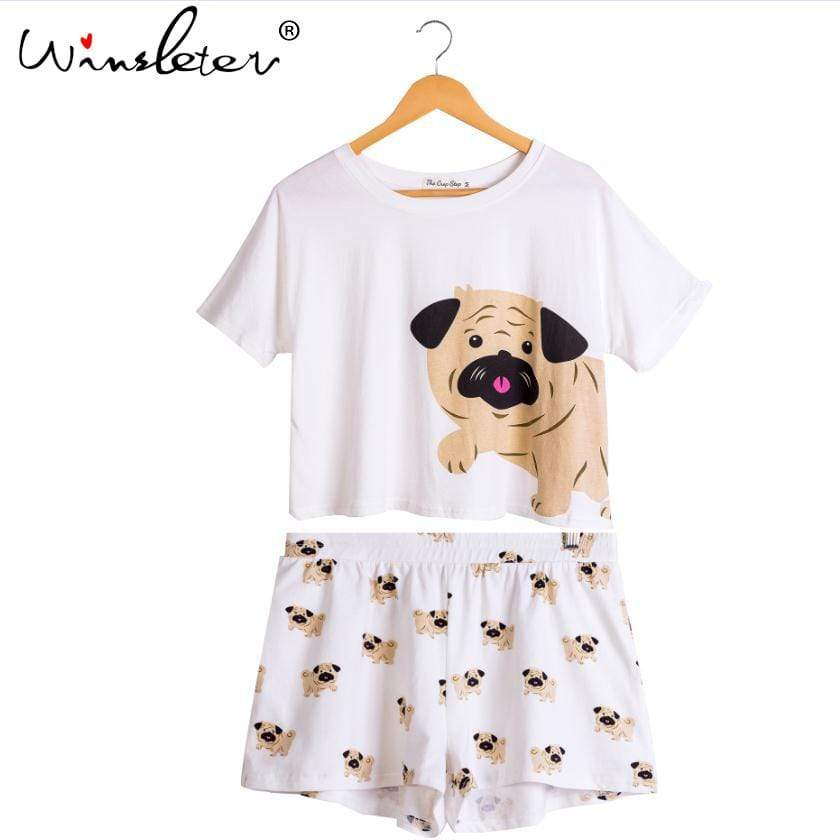 Max and Maci's Store Dog Pug Print Cotton Crop Top