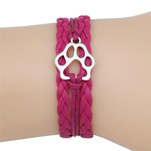 Dog'S Paw Charm Leather Wrap Bracelets - Max and Maci's Store