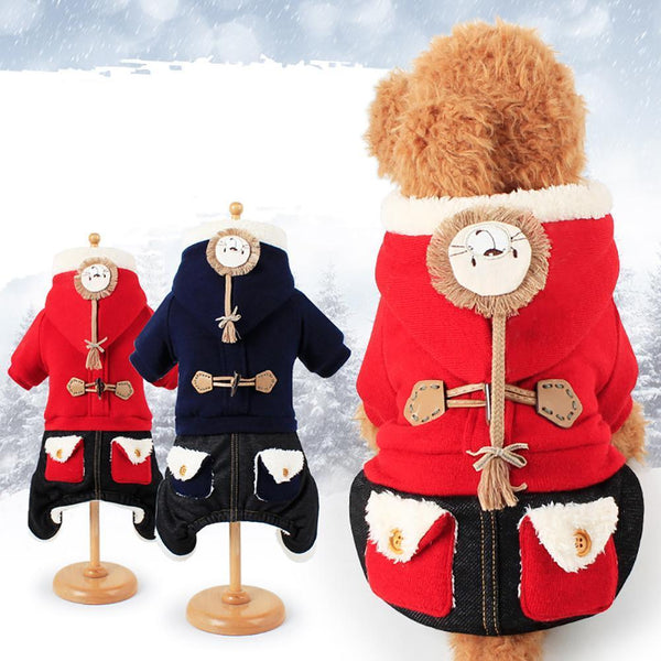 Fashion Lion Head Hooded Thicken Dog Four Legs Coat - Max and Maci's Store