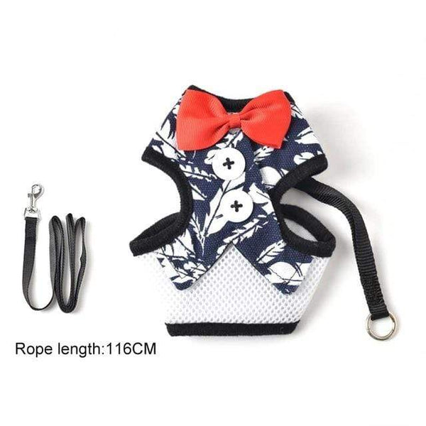 Dog Harness Breathable Thin Bowknot Clothes With Leash - Max and Maci's Store