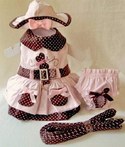 Dog Puppy Dress + Harness Leash Collar + Hat Headwear + Physiological Sanitary Panty - Max and Maci's Store