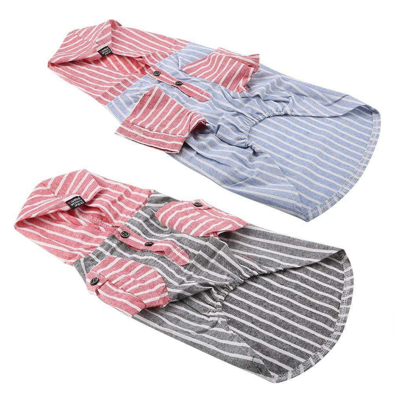 Max and Maci's Store Dog Shirts Dog Clothes Striped Hooded Casual Shirt