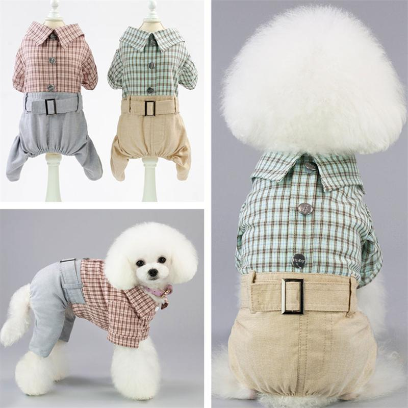 Max and Maci's Store Dog Shirts Dog Spring Summer Autumn Plaid Gentle Cotton Shirt
