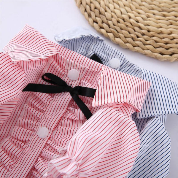 Dogs T Shirts Colorful Spring Striped Bowtie - Max and Maci's Store