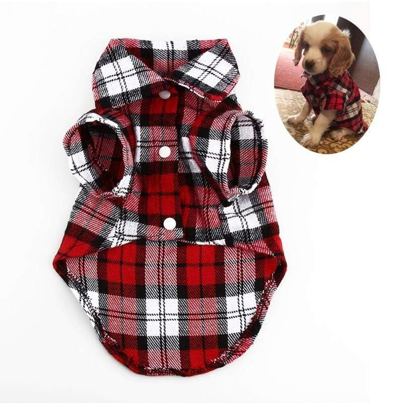 Max and Maci's Store Dog Shirts Fashion Puppy Dog Vests Plaid Stripe Pet T Shirt