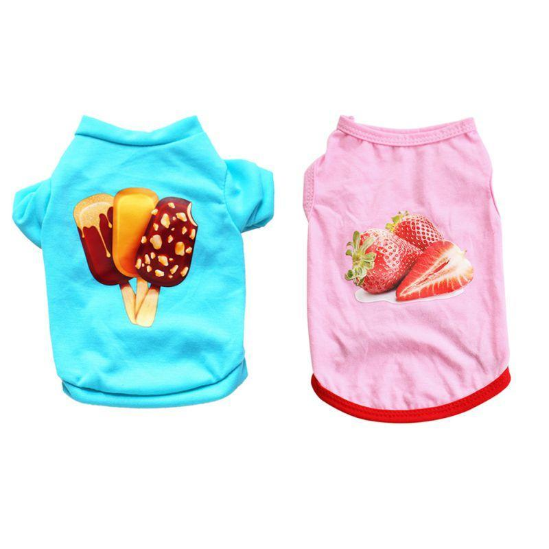 Max and Maci's Store Dog Shirts Pet Puppy Bikini Ice Cream Strawberry Printed T-Shirt