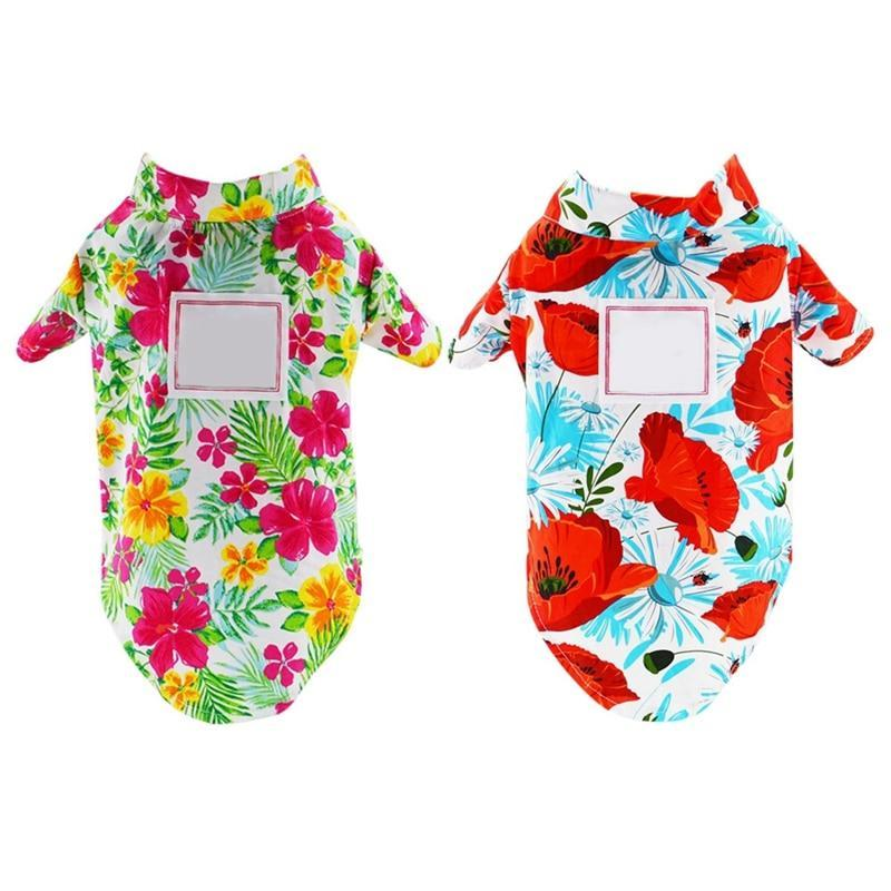 Max and Maci's Store Dog Shirts Summer Dog Cute Print Hawaii Clothes Shirts