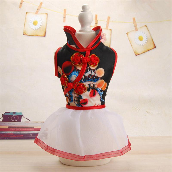 Chinese Style Dogs Dresses Lace Wedding Princess Skirt - Max and Maci's Store