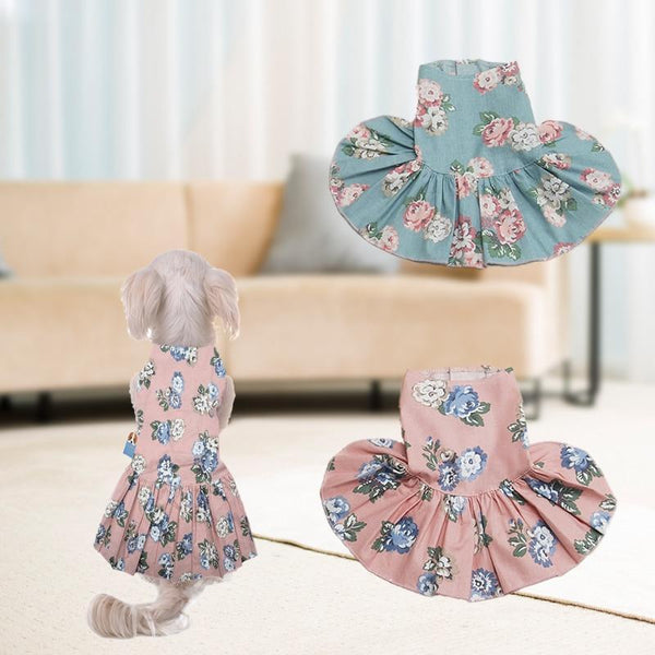 Dog Princess Dress With Flowers Patterns - Max and Maci's Store