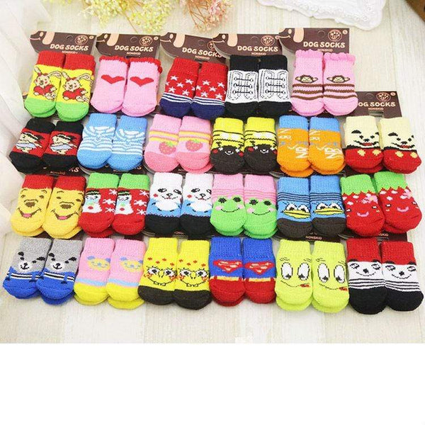 4Pcs/Lot Cute Anti-Slip Soft Cotton Cartoon Dog Socks - Max and Maci's Store