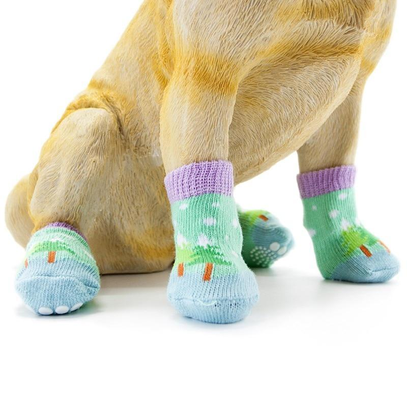 Max and Maci's Store Dog Socks Christmas Red Snowflake Dog Puppy Socks with Paw Prints