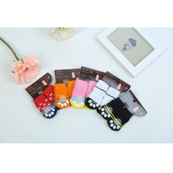 Colorful 4Pcs Cotton Anti Slip Warm Dog Socks - Max and Maci's Store