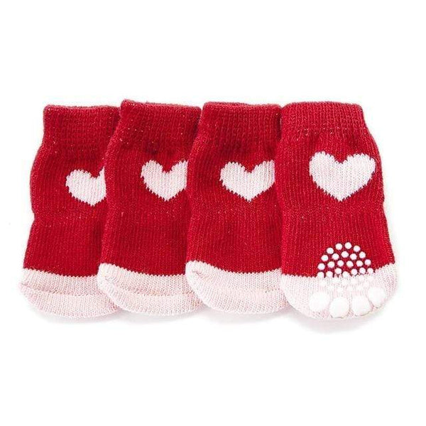 Christmas Red Snowflake Dog Puppy Socks With Paw Prints - Max and Maci's Store
