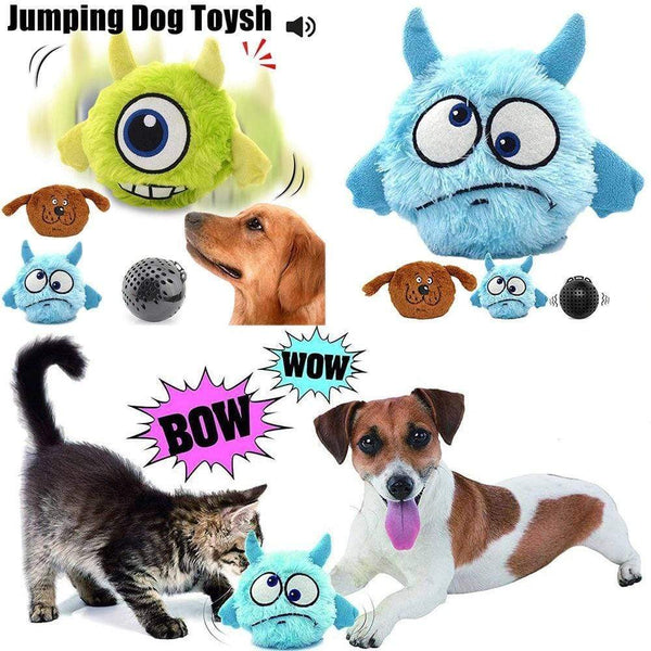 Automatic Poppy Dog Squeak Toys Plush Jumping Giggle Ball - Max and Maci's Store