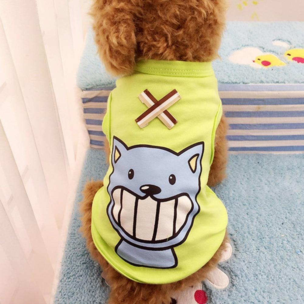 Max and Maci's Store Dog Vests Classic Design Fashionable Printed Cotton Cartoon Dog Vest