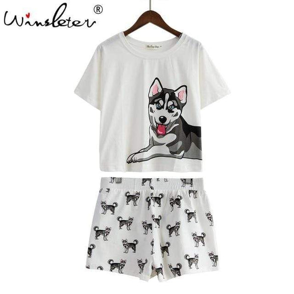 Dog Print Women Tops And Shorts - Max and Maci's Store
