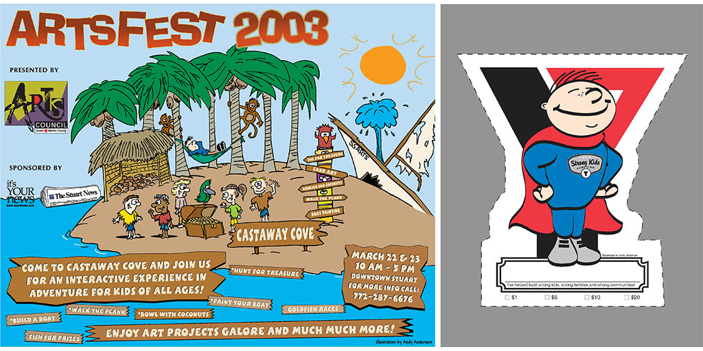 Cartoon illustration for local Arts Festival and YMCA by Andy Anderson