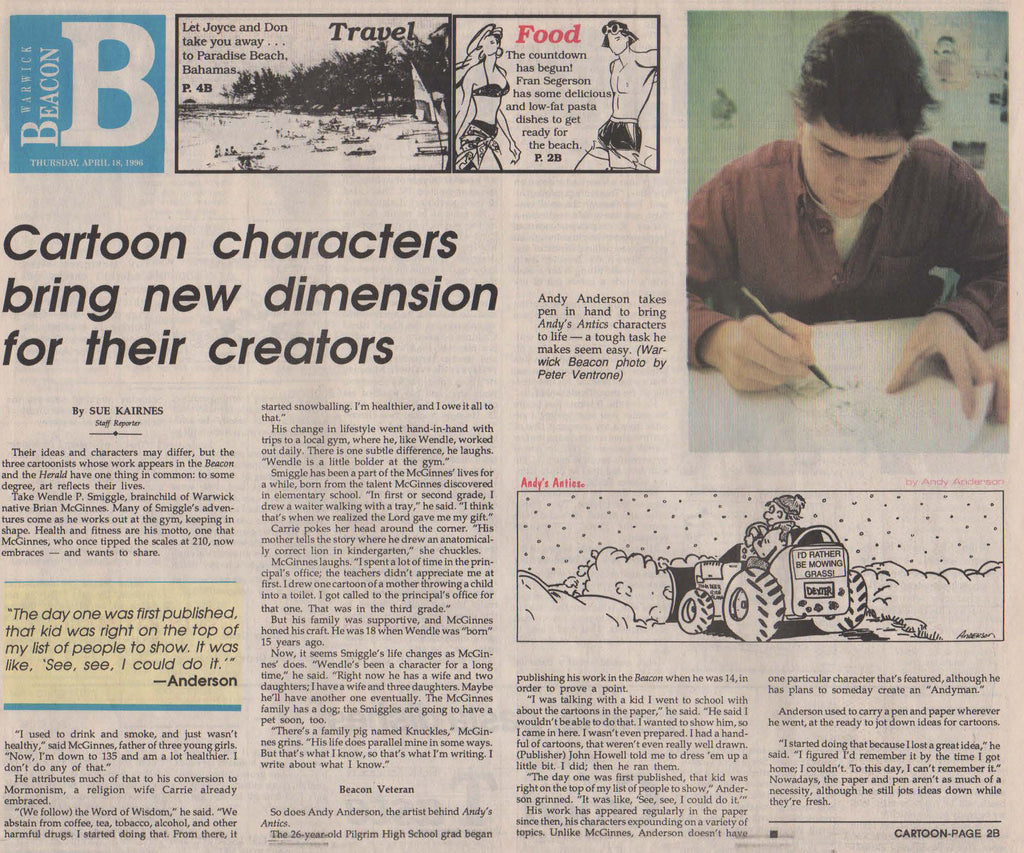 Cartoonist Andy Anderson article in Warwick Beacon