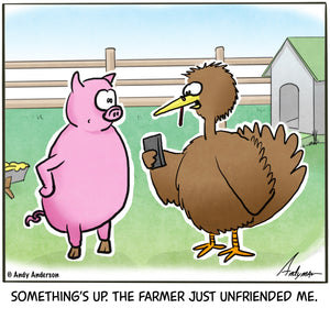 Cartoon about a farmer unfriending a turkey before Thanksgiving by Andy Anderson