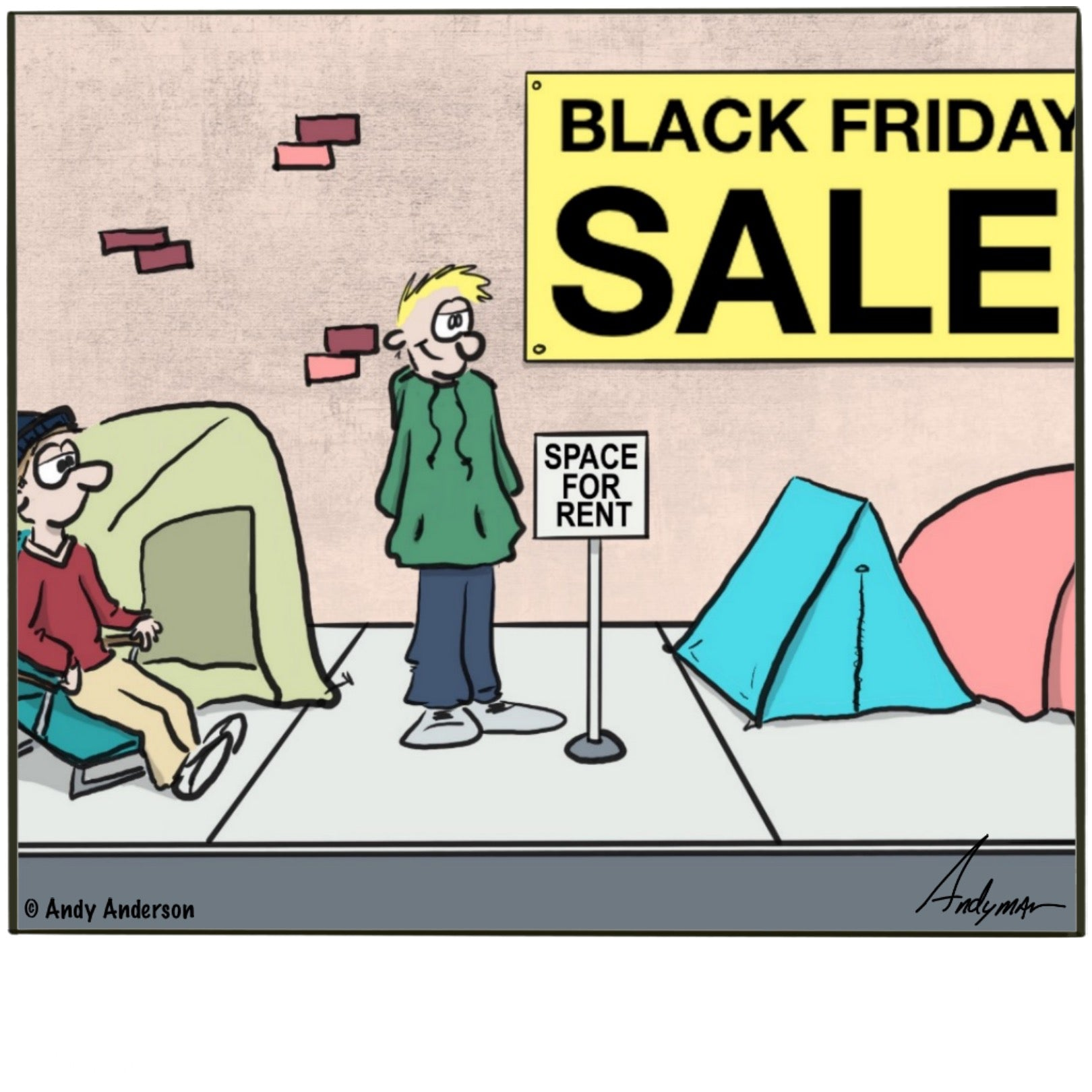 Black Friday space for rent cartoon by Andy Anderson