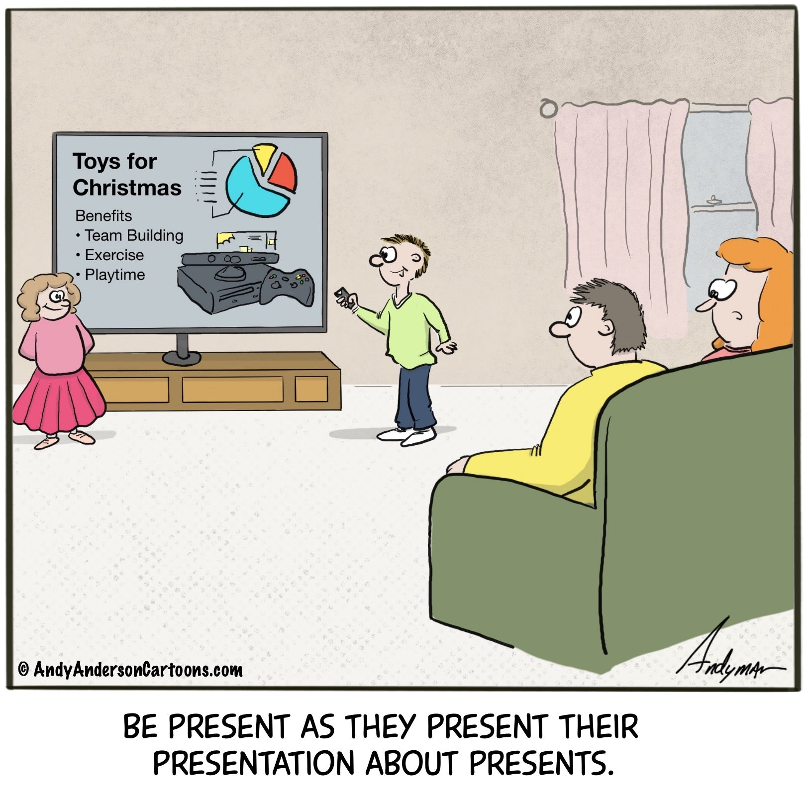 Christmas presentation cartoon by Andy Anderson