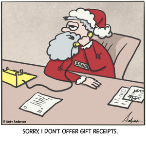 Cartoon about Santa not offering gift receipts by Andy Anderson