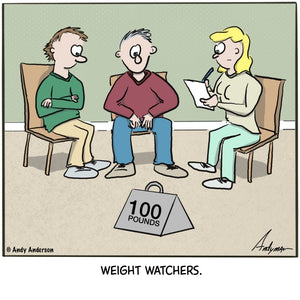 Cartoon about a group of people in front of 100lbs - weight watchers