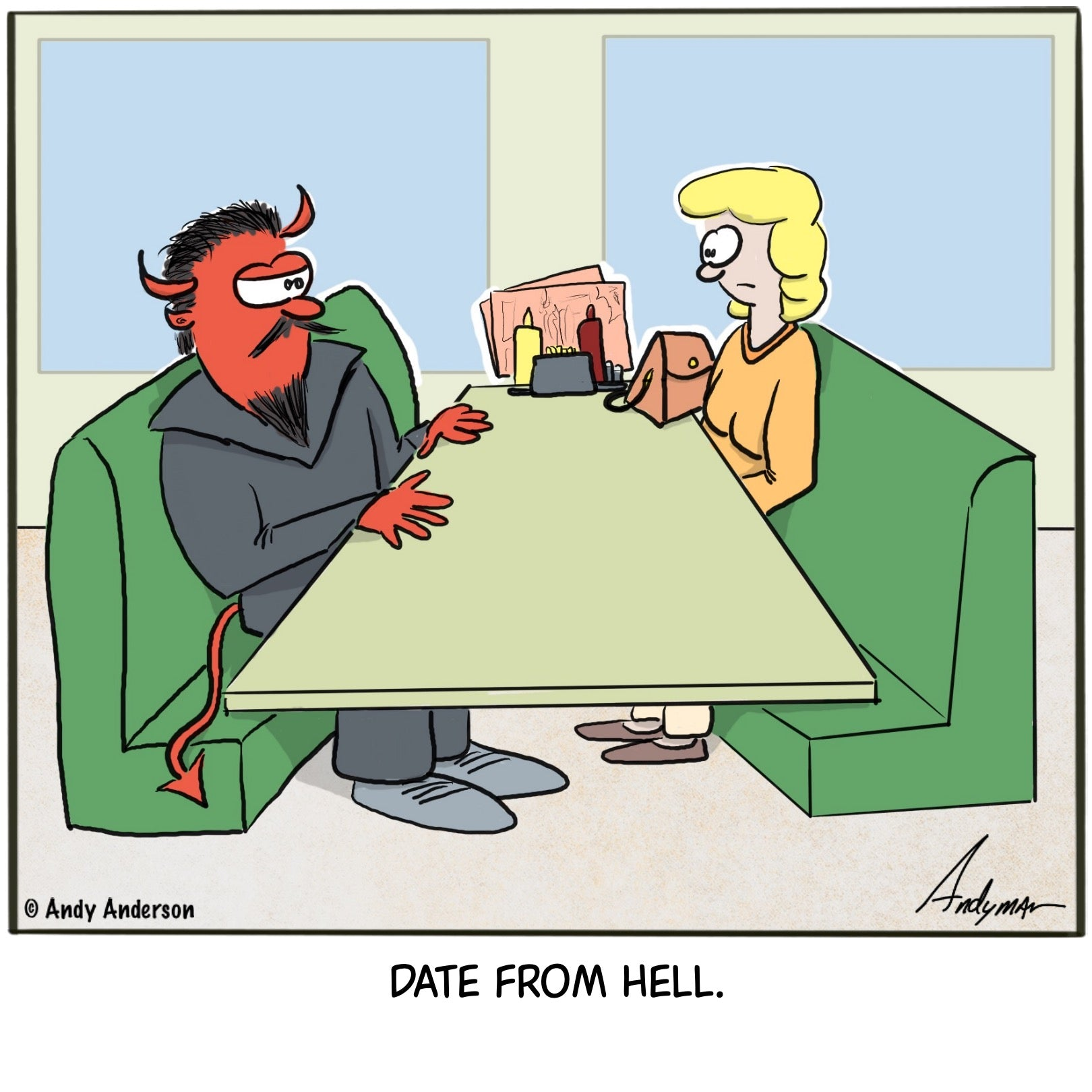 Cartoon about a woman on a date from Hell and the Devil is her date