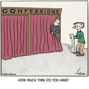 Cartoon about a person with a long list in front of a confession booth
