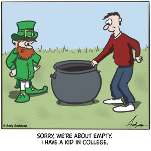 Cartoon about an empty pot of gold because of college tuition