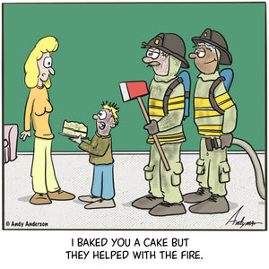 Cartoon about a boy (with firemen) baking a cake for mom