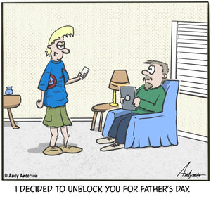Cartoon about a boy unblocking his dad for father's day