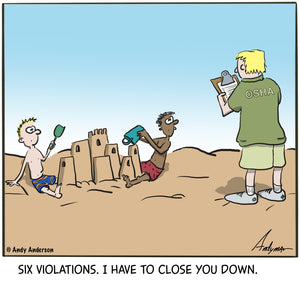OSHA with kids and sand castle cartoon by Andy Anderson