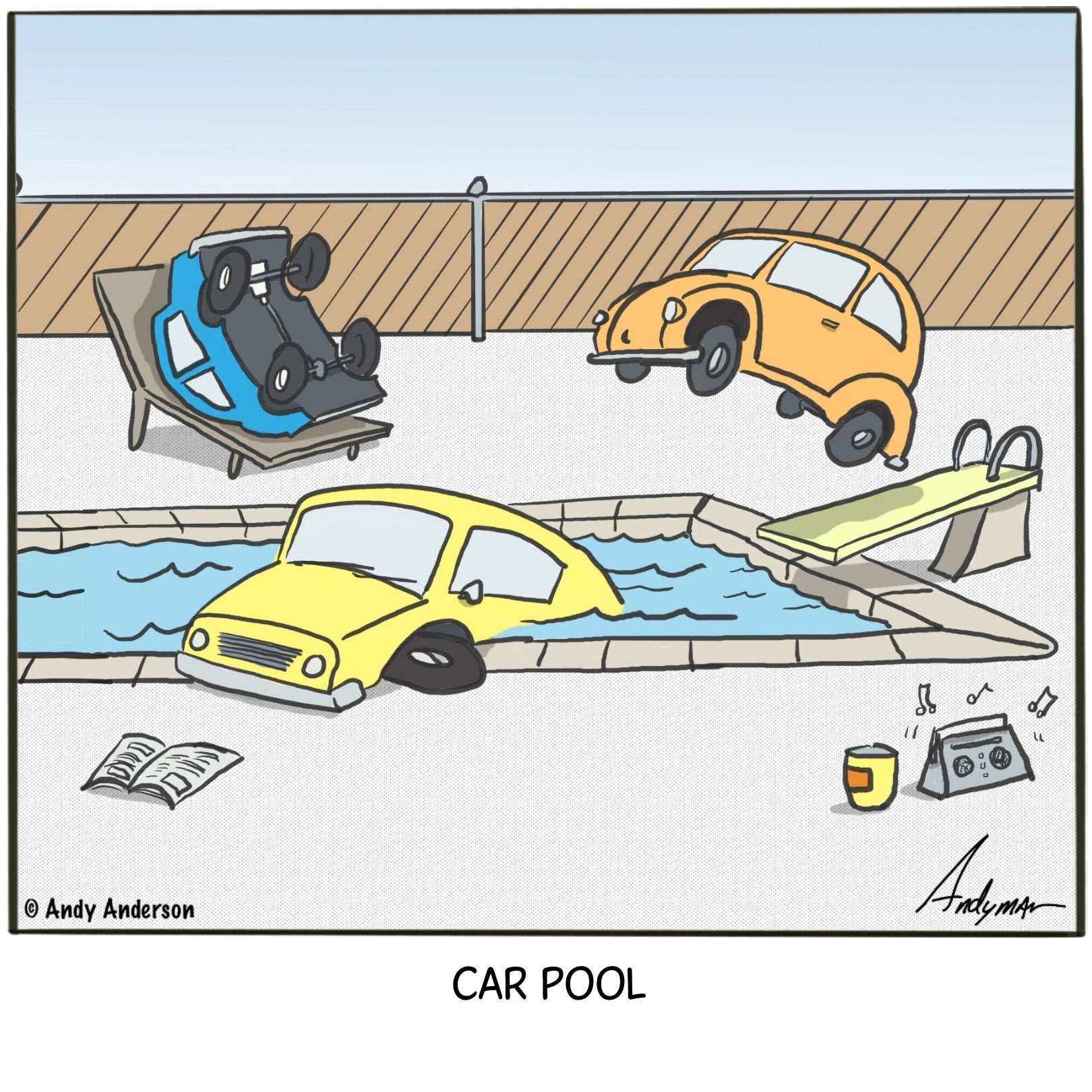 Car pool cartoon by Andy Anderson