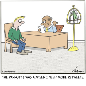 Cartoon about having a parrot for retweets by Andy Anderson