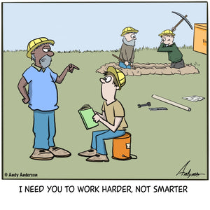 Cartoon about a boss asking a worker who is reading a book to work harder not smarter by Andy Anderson