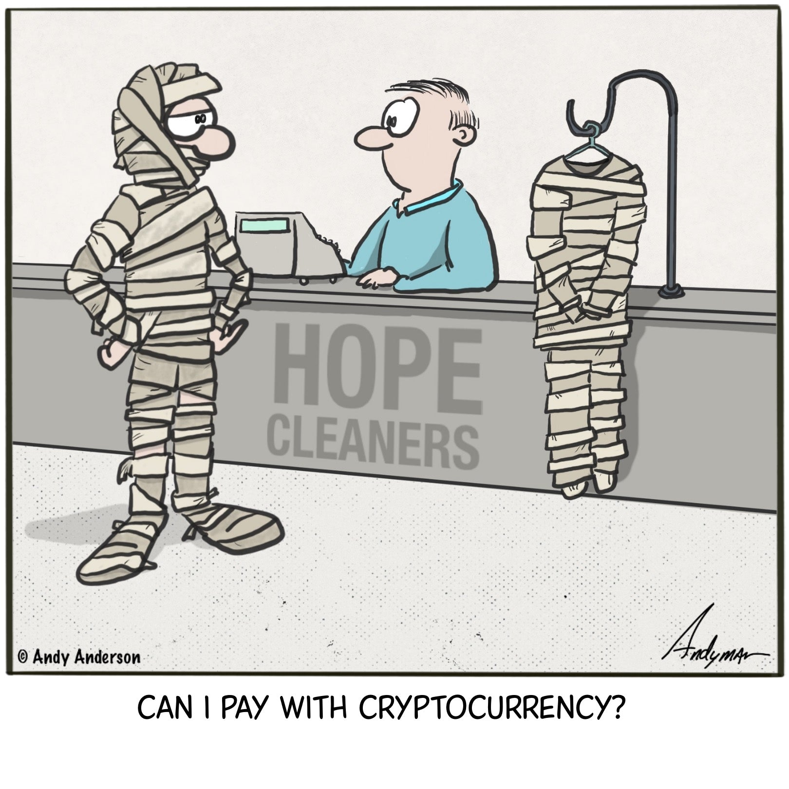 Can I pay with cryptocurrency cartoon by Andy Anderson