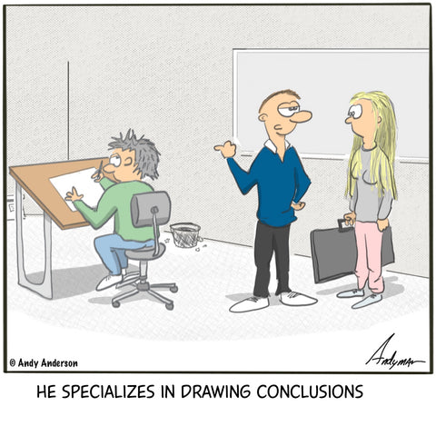 Cartoon about an artist at a drawing board, drawing conclusions