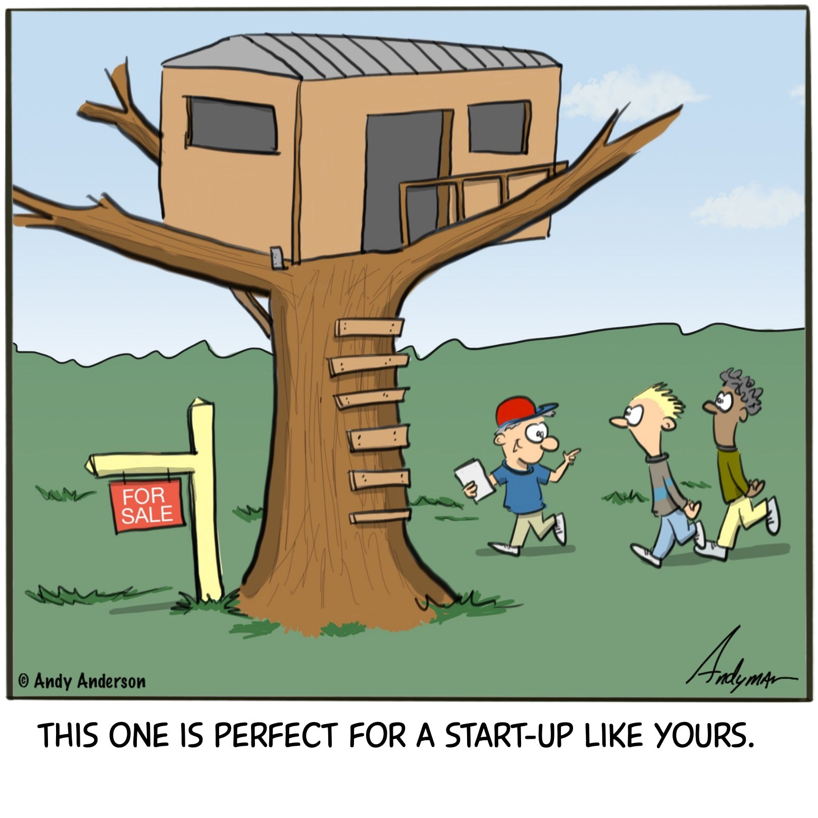 Cartoon about tree house realty by Andy Anderson