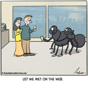 Cartoon about a spider couple who met on the web by Andy Anderson