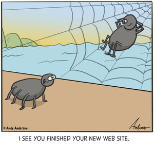 Cartoon about a spider with a new website by Andy Anderson
