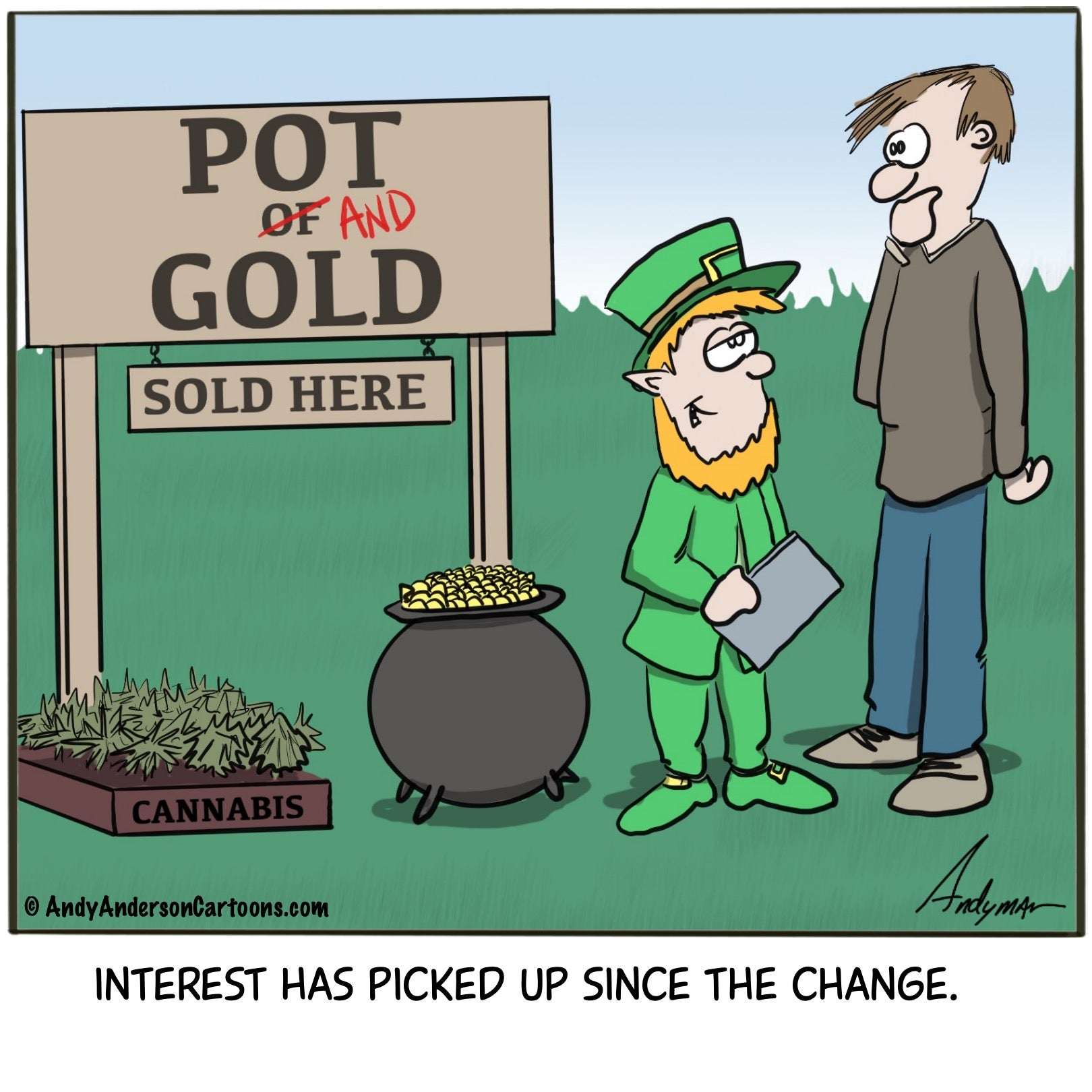 St. Patrick's Day Pot and Gold cartoon by Andy Anderson