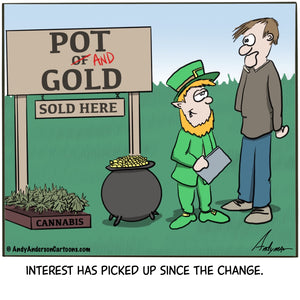 "Cartoon about renaming ""pot of gold"" to ""pot and gold"" to drive more business"