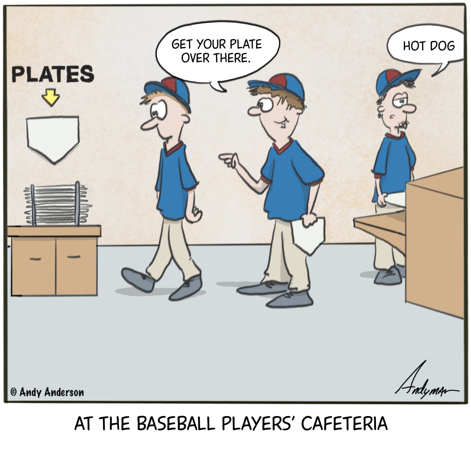 At the baseball players' cafeteria cartoon by Andy Anderson