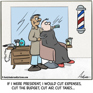 Barber making cuts cartoon by Andy Anderson